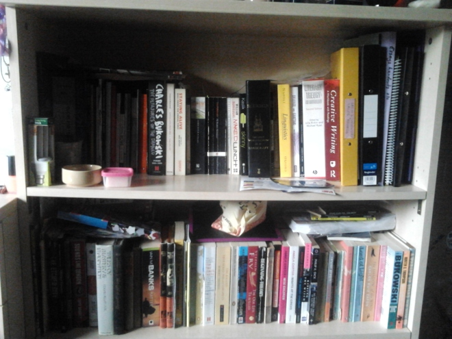 Photo of my bookshelf, filled with books